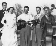 Joe Kujawa on fiddle with unknown musicians at Raymond Ohendalski and Louise Kasowski wedding in 1949