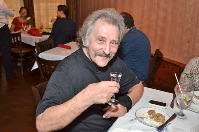 Greg Harbar with the Gypsies is enjoying his Vodka straight.