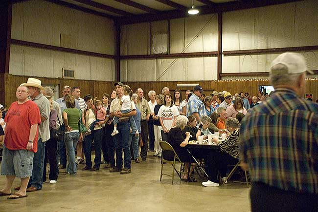 Long Line For Barbecue Dinner